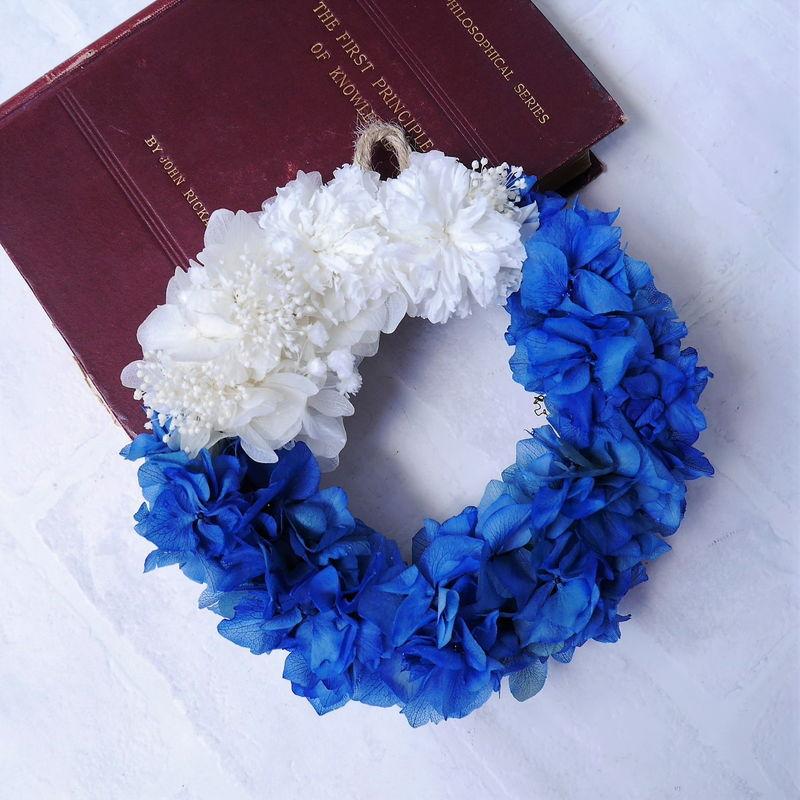 プリザーブドフラワーのブルーの紫陽花